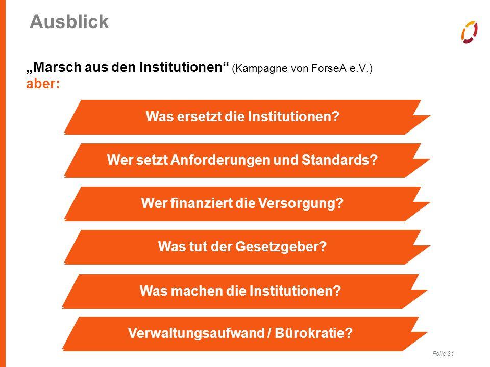 """Folie 31 Ausblick """"Marsch aus den Institutionen (Kampagne von ForseA e.V.) aber: Was ersetzt die Institutionen Wer setzt Anforderungen und Standards Wer finanziert die Versorgung Was tut der Gesetzgeber Was machen die Institutionen Verwaltungsaufwand / Bürokratie"""