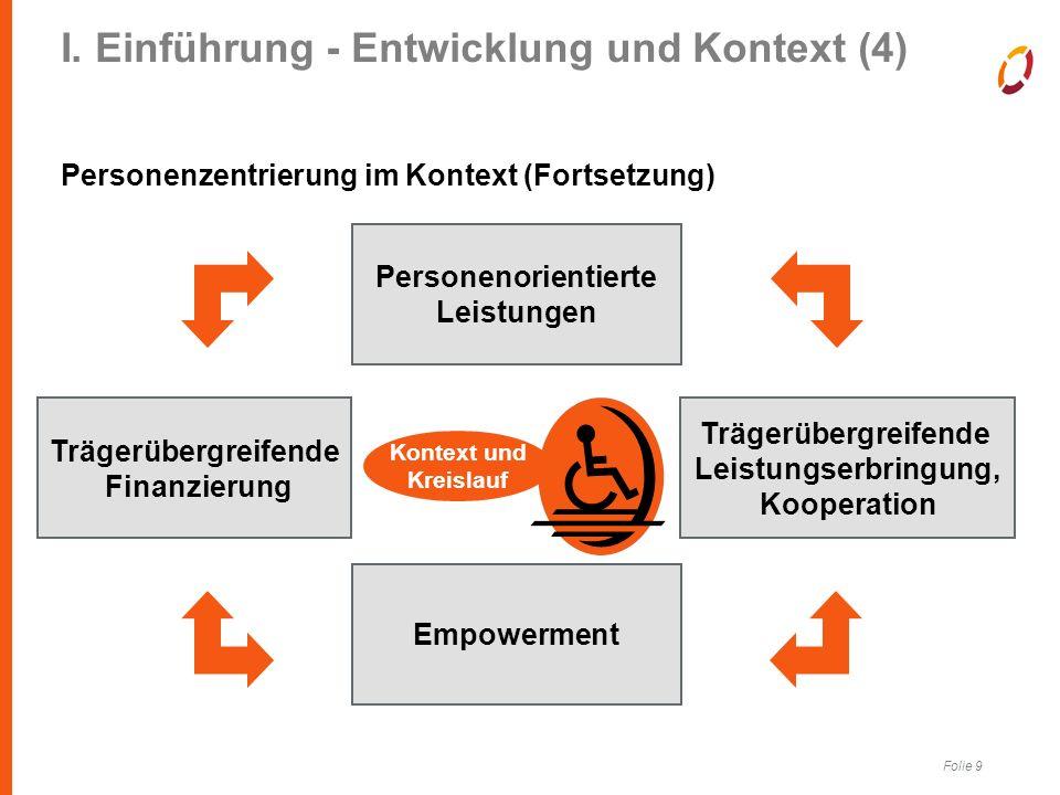 Folie 9 I. Einführung - Entwicklung und Kontext (4) Personenzentrierung im Kontext (Fortsetzung) Ambulantisierung Personenorientierte Leistungen Träge