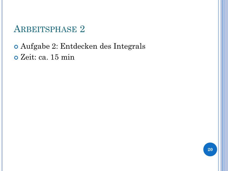 A RBEITSPHASE 2 Aufgabe 2: Entdecken des Integrals Zeit: ca. 15 min 20