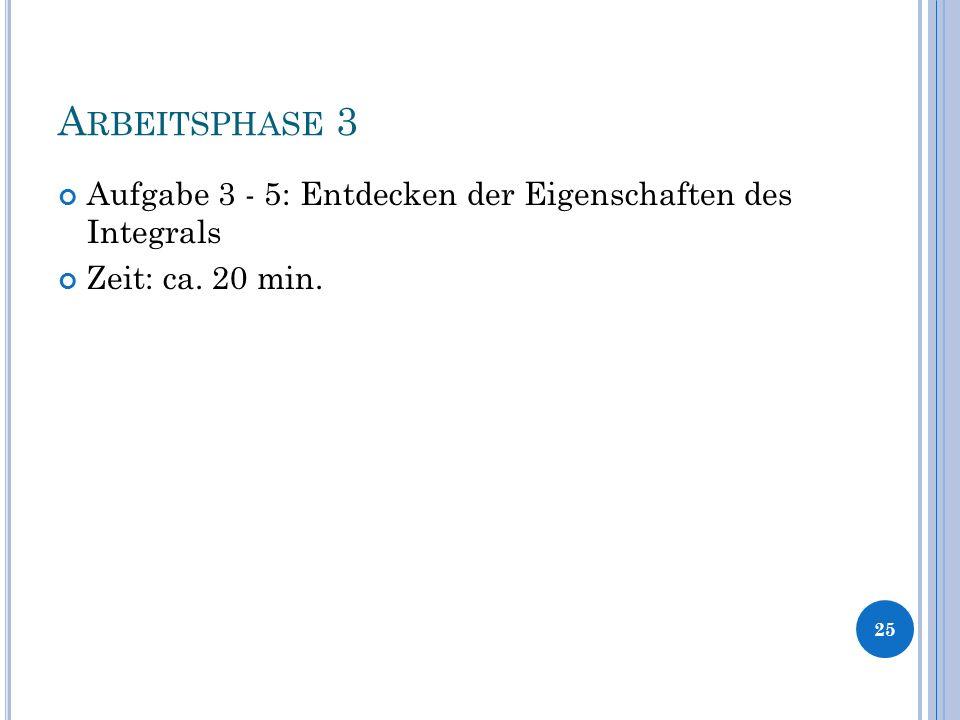 A RBEITSPHASE 3 Aufgabe 3 - 5: Entdecken der Eigenschaften des Integrals Zeit: ca. 20 min. 25
