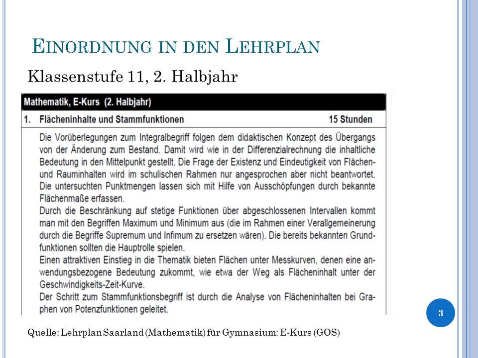 E INORDNUNG IN DEN L EHRPLAN Klassenstufe 11, 2. Halbjahr 3 Quelle: Lehrplan Saarland (Mathematik) für Gymnasium: E-Kurs (GOS)