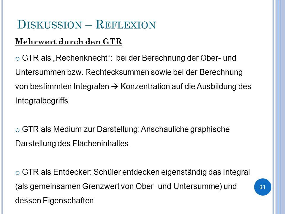 """D ISKUSSION – R EFLEXION Mehrwert durch den GTR 31 o GTR als """"Rechenknecht"""": bei der Berechnung der Ober- und Untersummen bzw. Rechtecksummen sowie be"""