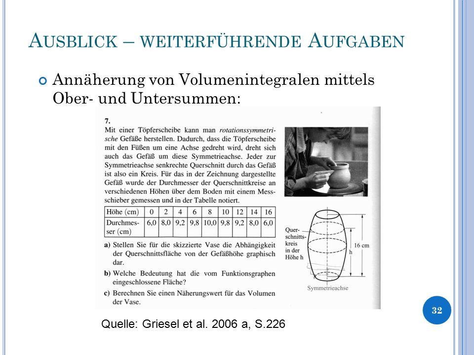 A USBLICK – WEITERFÜHRENDE A UFGABEN 32 Annäherung von Volumenintegralen mittels Ober- und Untersummen: Quelle: Griesel et al. 2006 a, S.226