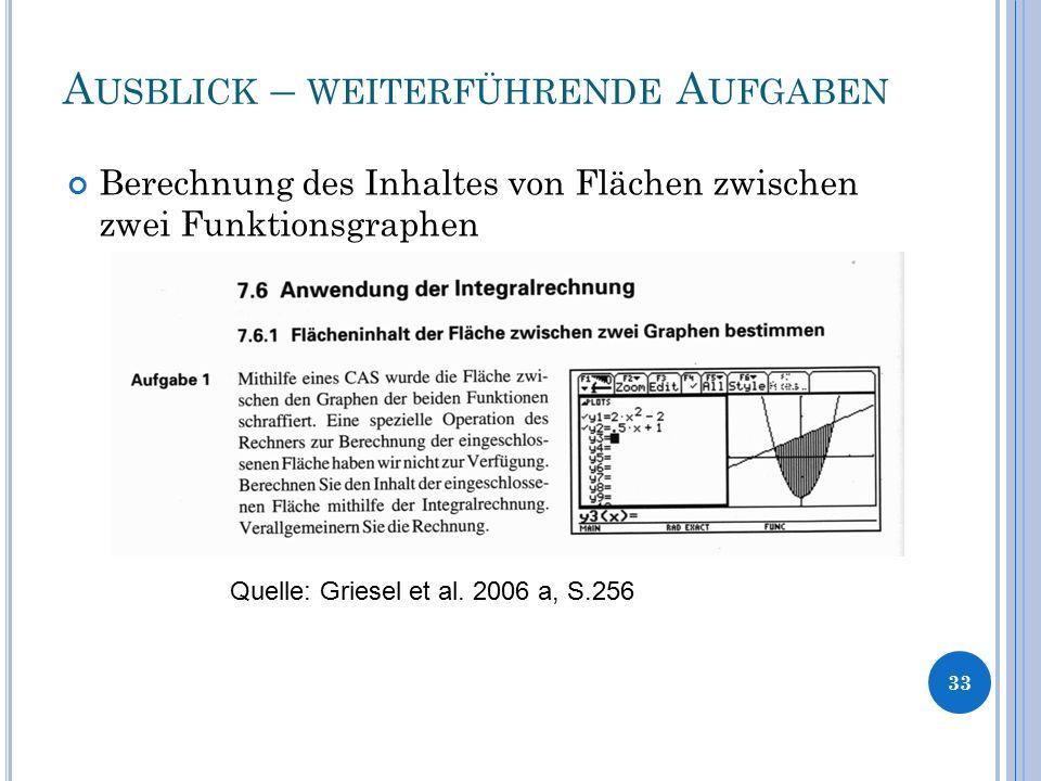 A USBLICK – WEITERFÜHRENDE A UFGABEN 33 Berechnung des Inhaltes von Flächen zwischen zwei Funktionsgraphen Quelle: Griesel et al. 2006 a, S.256