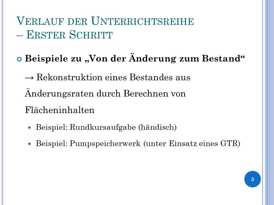 """V ERLAUF DER U NTERRICHTSREIHE – E RSTER S CHRITT Beispiele zu """"Von der Änderung zum Bestand"""" → Rekonstruktion eines Bestandes aus Änderungsraten durc"""