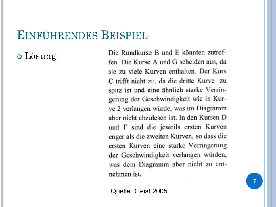 E INFÜHRENDES B EISPIEL Lösung 7 Quelle: Geist 2005