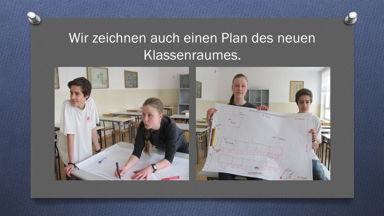 Wir zeichnen auch einen Plan des neuen Klassenraumes.
