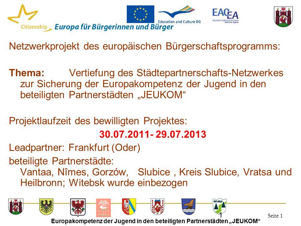 """Seite 1 Europakompetenz der Jugend in den beteiligten Partnerstädten """"JEUKOM"""" 1 Netzwerkprojekt des europäischen Bürgerschaftsprogramms: Thema:Vertief"""