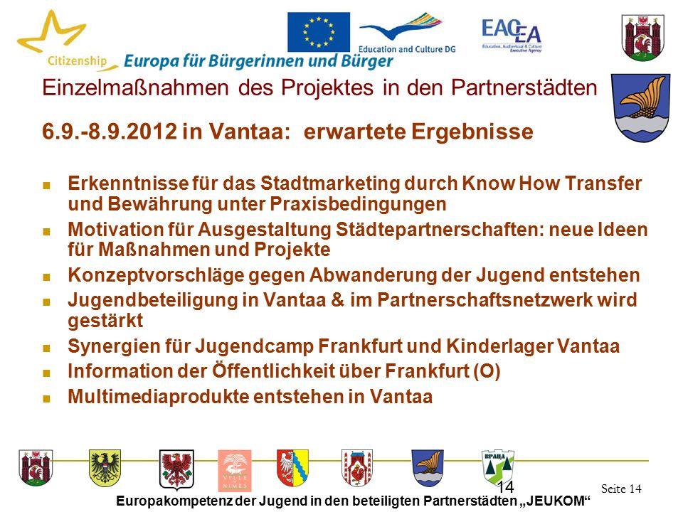 """Seite 14 Europakompetenz der Jugend in den beteiligten Partnerstädten """"JEUKOM"""" 14 Einzelmaßnahmen des Projektes in den Partnerstädten 6.9.-8.9.2012 in"""