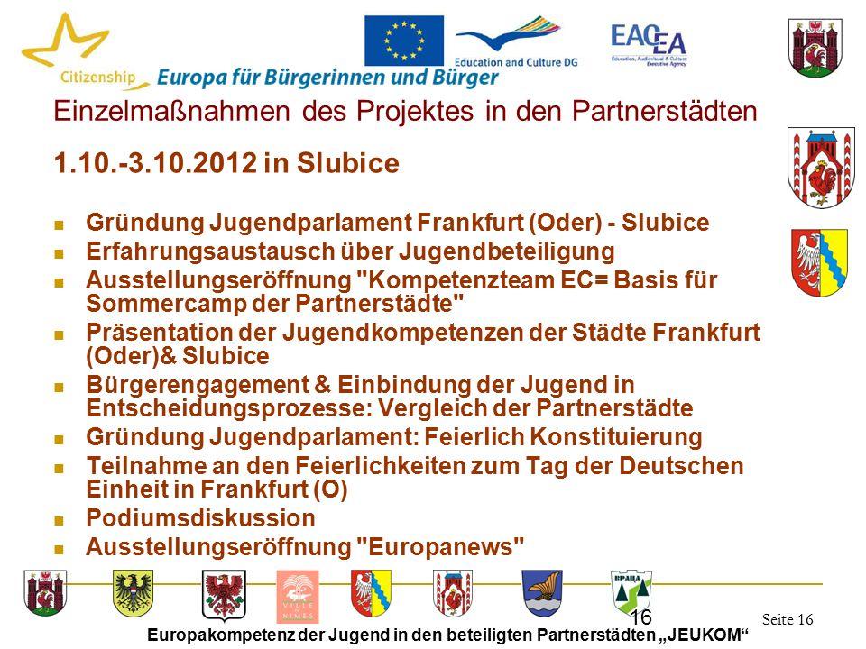 """Seite 16 Europakompetenz der Jugend in den beteiligten Partnerstädten """"JEUKOM"""" 16 Einzelmaßnahmen des Projektes in den Partnerstädten 1.10.-3.10.2012"""