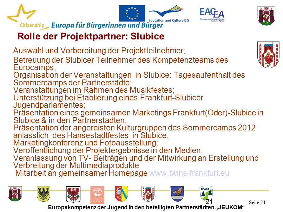 """Seite 21 Europakompetenz der Jugend in den beteiligten Partnerstädten """"JEUKOM"""" 21 Rolle der Projektpartner: Slubice Auswahl und Vorbereitung der Proje"""