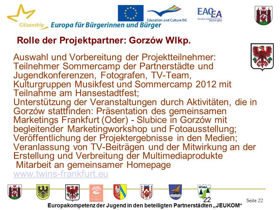 """Seite 22 Europakompetenz der Jugend in den beteiligten Partnerstädten """"JEUKOM"""" 22 Rolle der Projektpartner: Gorzów Wlkp. Auswahl und Vorbereitung der"""