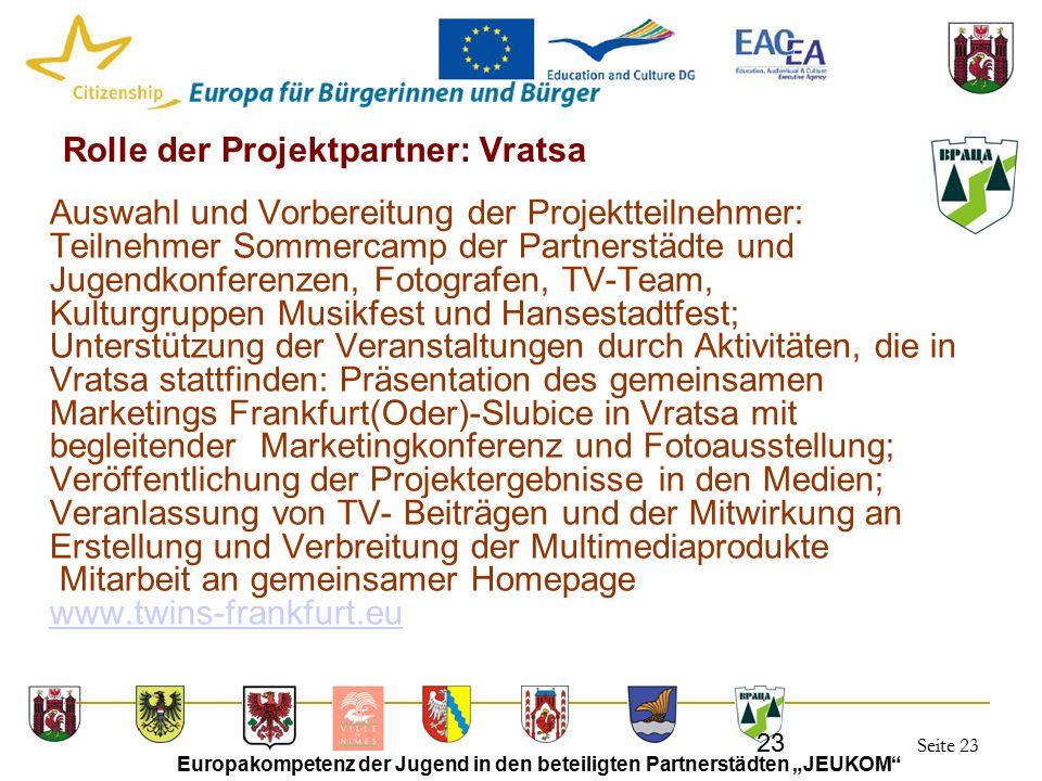 """Seite 23 Europakompetenz der Jugend in den beteiligten Partnerstädten """"JEUKOM"""" 23 Rolle der Projektpartner: Vratsa Auswahl und Vorbereitung der Projek"""