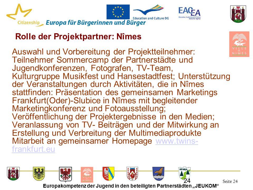 """Seite 24 Europakompetenz der Jugend in den beteiligten Partnerstädten """"JEUKOM"""" 24 Rolle der Projektpartner: Nîmes Auswahl und Vorbereitung der Projekt"""