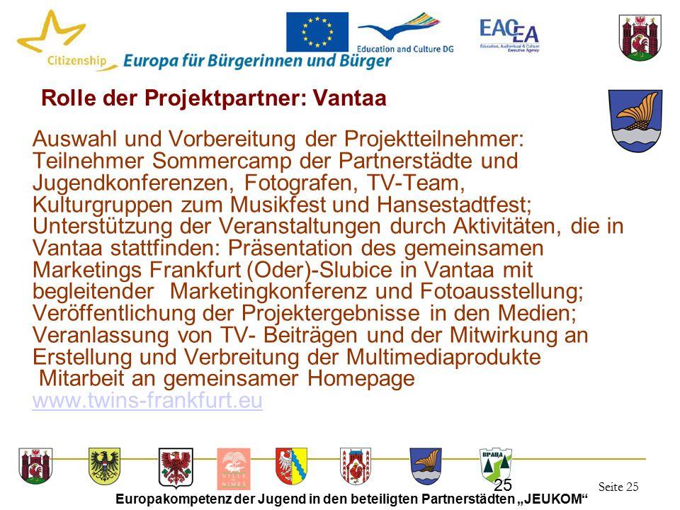 """Seite 25 Europakompetenz der Jugend in den beteiligten Partnerstädten """"JEUKOM"""" 25 Rolle der Projektpartner: Vantaa Auswahl und Vorbereitung der Projek"""