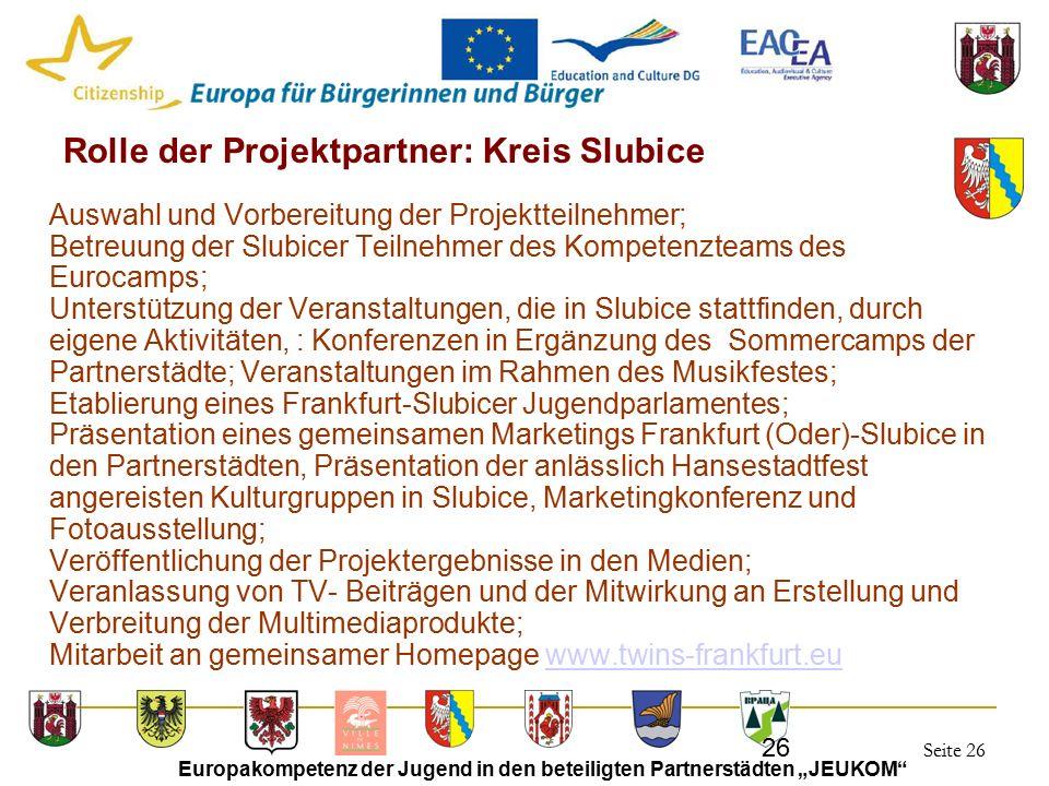 """Seite 26 Europakompetenz der Jugend in den beteiligten Partnerstädten """"JEUKOM"""" 26 Rolle der Projektpartner: Kreis Slubice Auswahl und Vorbereitung der"""