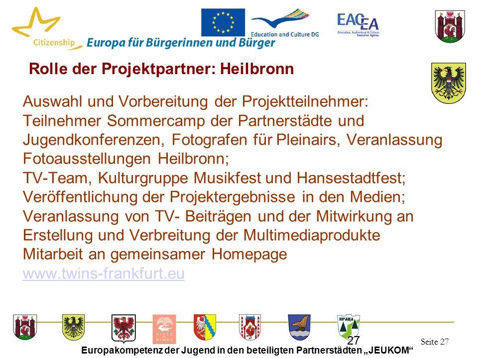 """Seite 27 Europakompetenz der Jugend in den beteiligten Partnerstädten """"JEUKOM"""" 27 Rolle der Projektpartner: Heilbronn Auswahl und Vorbereitung der Pro"""