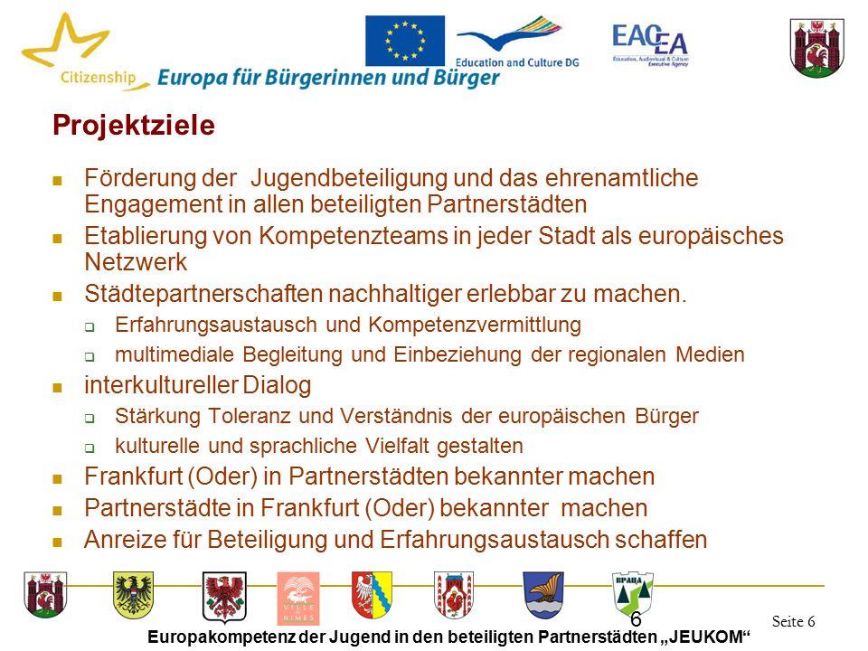 """Seite 6 Europakompetenz der Jugend in den beteiligten Partnerstädten """"JEUKOM 6 Projektziele Förderung der Jugendbeteiligung und das ehrenamtliche Engagement in allen beteiligten Partnerstädten Etablierung von Kompetenzteams in jeder Stadt als europäisches Netzwerk Städtepartnerschaften nachhaltiger erlebbar zu machen."""