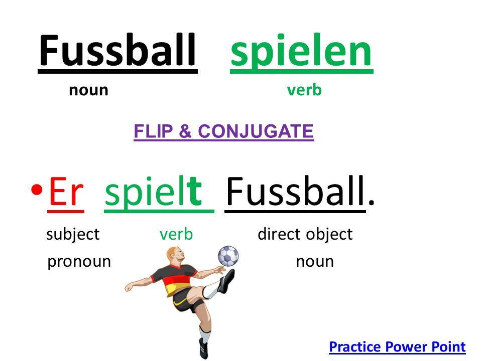 Fussball spielen noun verb Er spiel t Fussball. subject verb direct object pronoun noun FLIP & CONJUGATE Practice Power Point