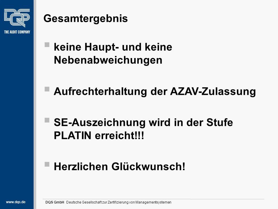 www.dqs.de DQS GmbH Deutsche Gesellschaft zur Zertifizierung von Managementsystemen Gesamtergebnis  keine Haupt- und keine Nebenabweichungen  Aufrec