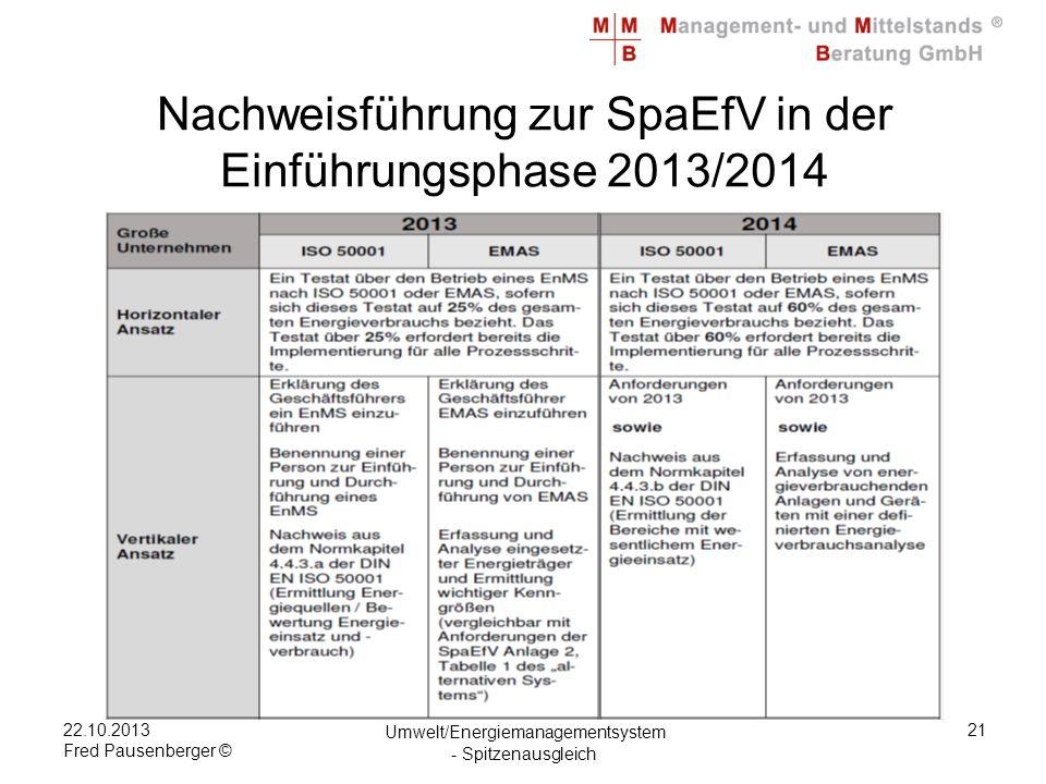 22.10.2013 Fred Pausenberger © Umwelt/Energiemanagementsystem - Spitzenausgleich 21 Nachweisführung zur SpaEfV in der Einführungsphase 2013/2014