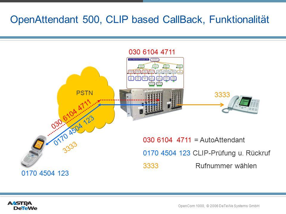 OpenCom 1000, © 2006 DeTeWe Systems GmbH OpenAttendant 500, CLIP based CallBack, Funktionalität PSTN 030 6104 4711 = AutoAttendant 0170 4504 123 CLIP-