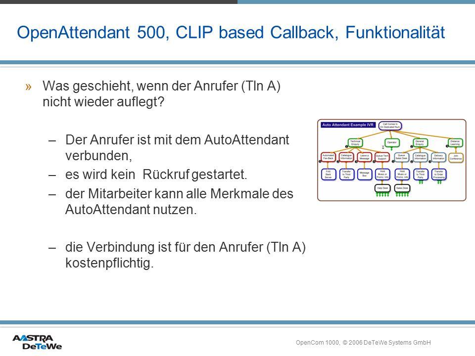 OpenCom 1000, © 2006 DeTeWe Systems GmbH OpenAttendant 500, CLIP based Callback, Funktionalität »Was geschieht, wenn der Anrufer (Tln A) nicht wieder