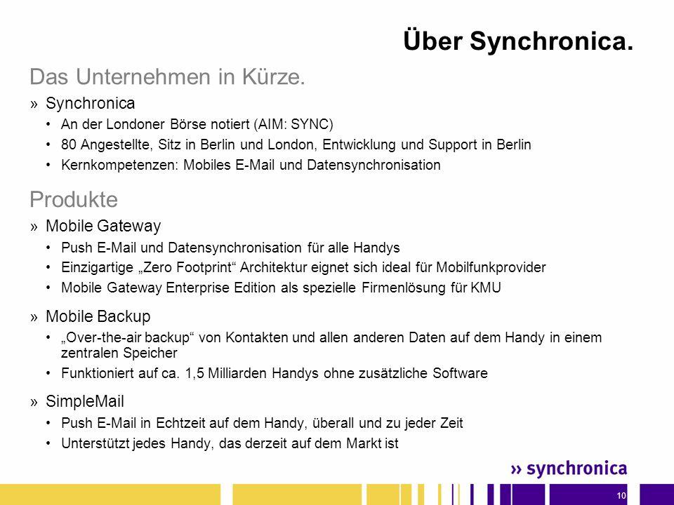 10 Über Synchronica.Das Unternehmen in Kürze.
