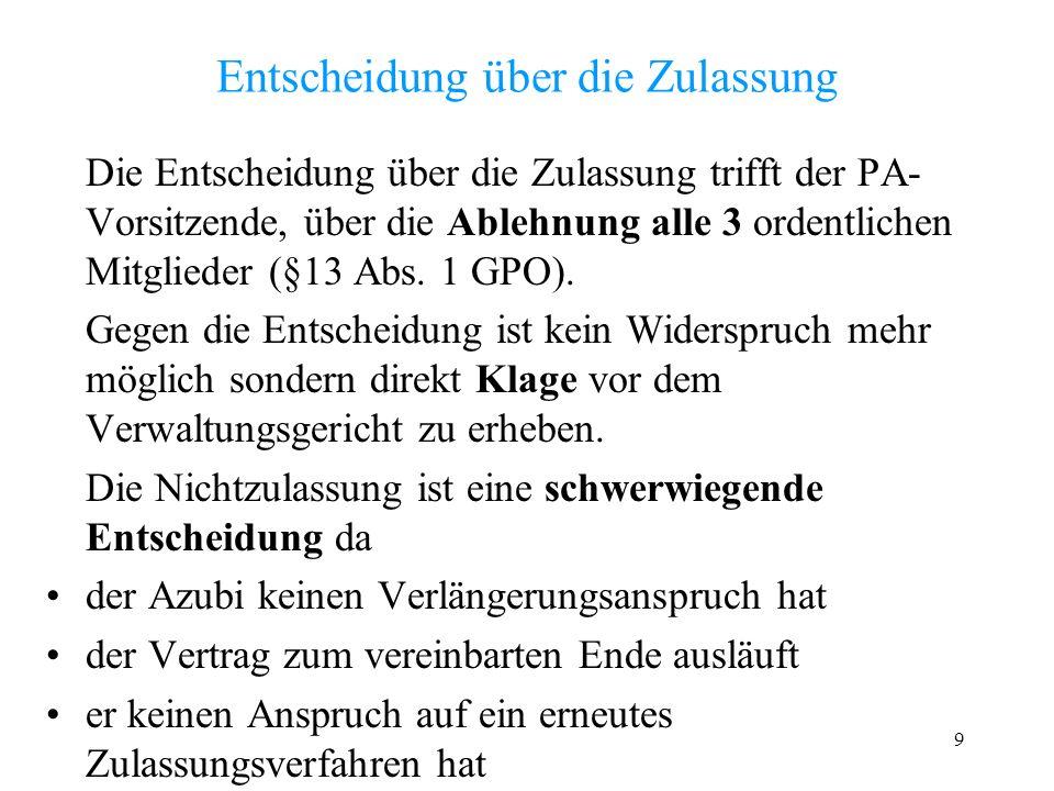 9 Entscheidung über die Zulassung Die Entscheidung über die Zulassung trifft der PA- Vorsitzende, über die Ablehnung alle 3 ordentlichen Mitglieder (§13 Abs.