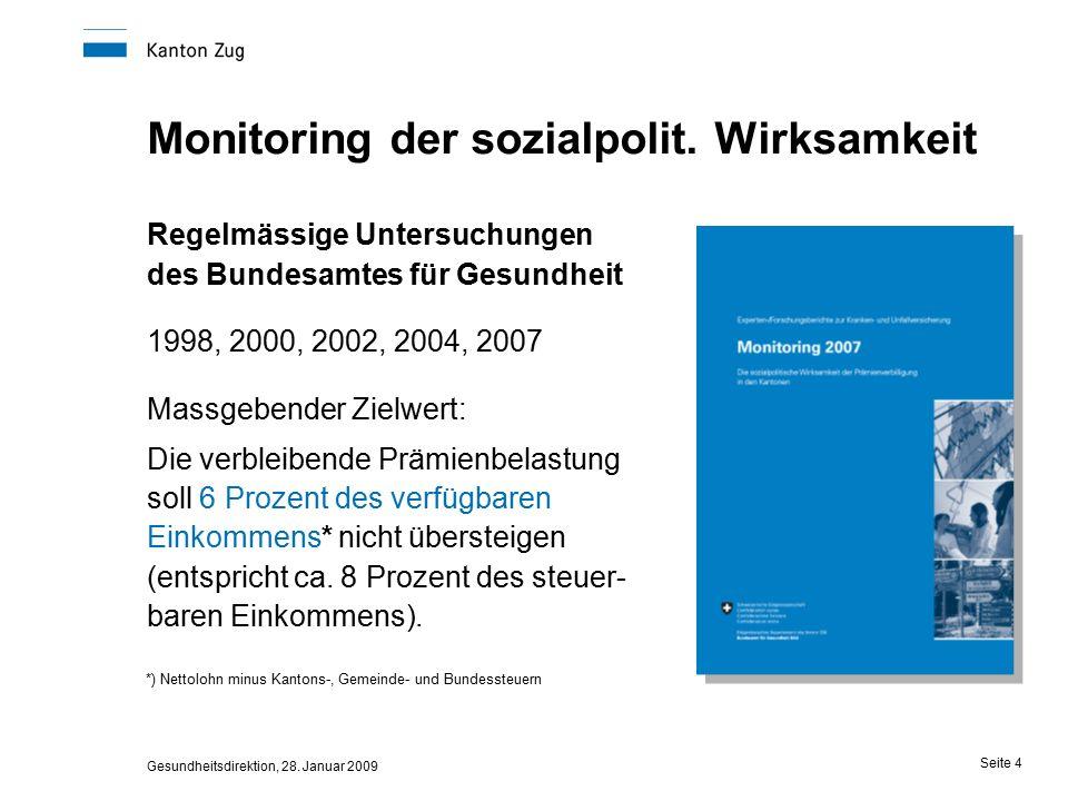 Gesundheitsdirektion, 28. Januar 2009 Seite 4 Monitoring der sozialpolit.