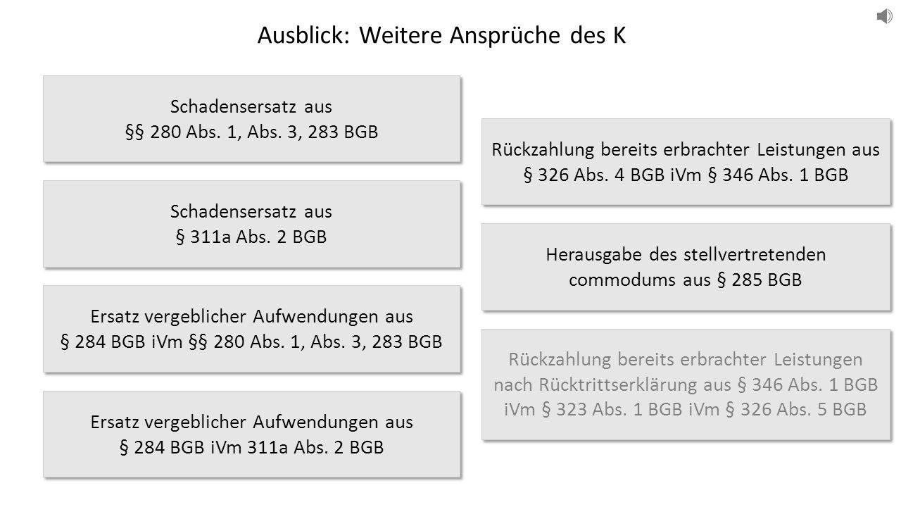 Schadensersatz aus §§ 280 Abs. 1, Abs. 3, 283 BGB Schadensersatz aus § 311a Abs.