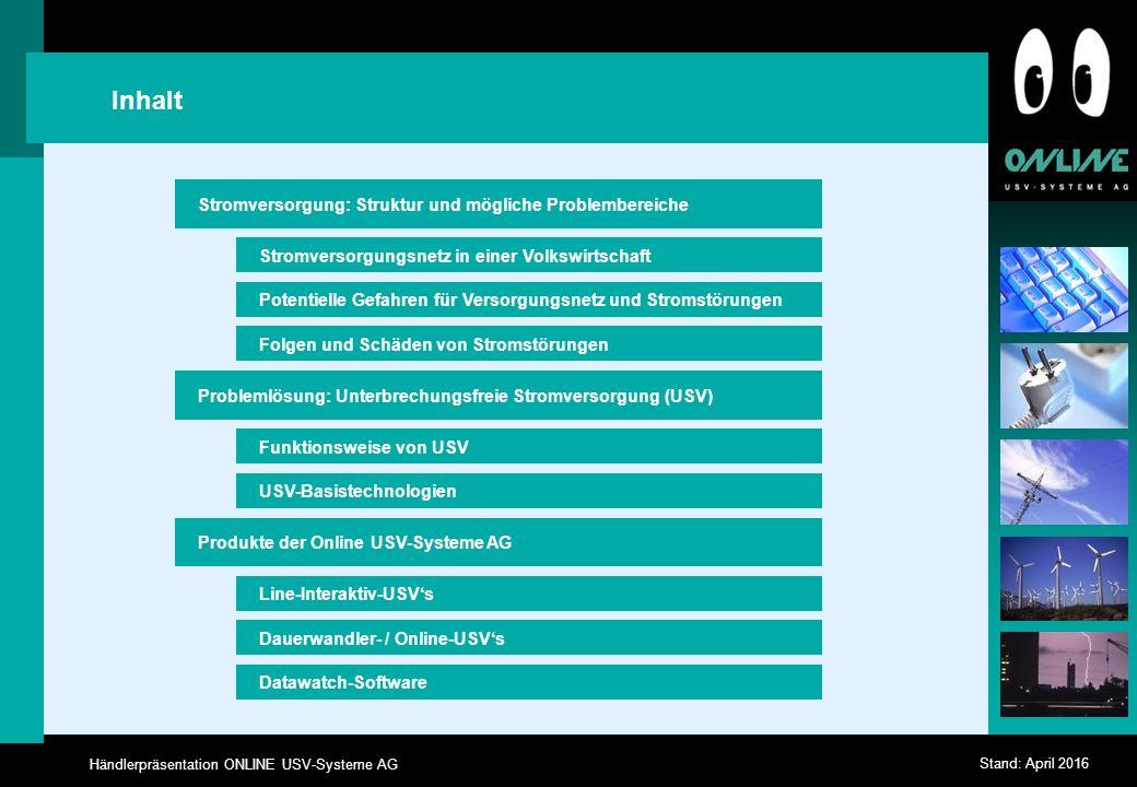 Händlerpräsentation ONLINE USV-Systeme AG Stand: April 2016 Häufigkeit und Dauer von Stromausfällen Quelle: Fernmeldetechnisches Zentralamt Darmstadt 0-10 msec10-20 msec20 msec - 1 sec1 sec - 1 h> 1 h 0 10 20 30 40 50 60 Häufigkeit p.a.
