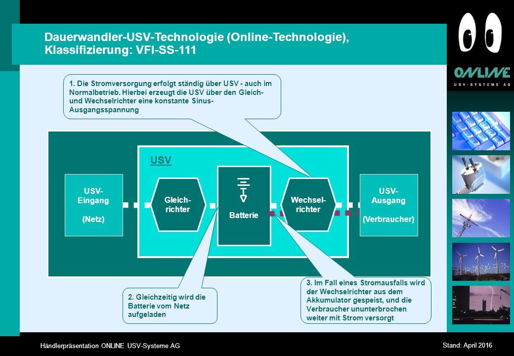 Händlerpräsentation ONLINE USV-Systeme AG Stand: April 2016 Dauerwandler-USV-Technologie (Online-Technologie), Klassifizierung: VFI-SS-111 USV- Eingang (Netz) USV- Ausgang (Verbraucher) Gleich- richter USV Batterie 1.
