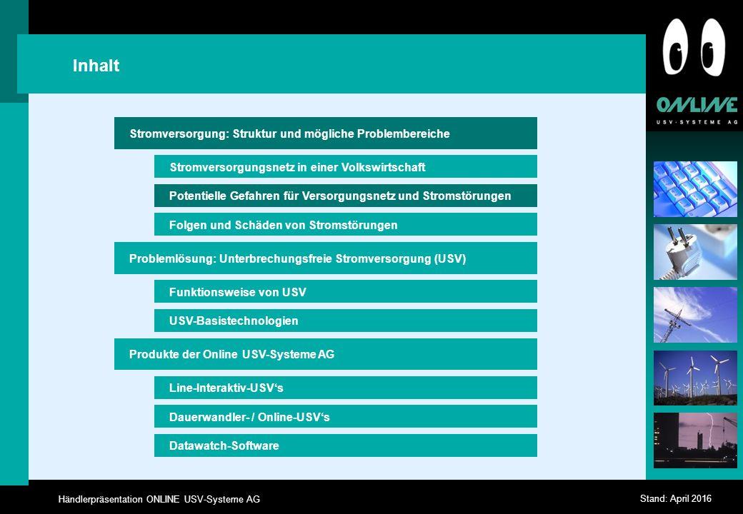 Händlerpräsentation ONLINE USV-Systeme AG Stand: April 2016 DataWatch Shutdown Software Netzmanagement-Software, incl.