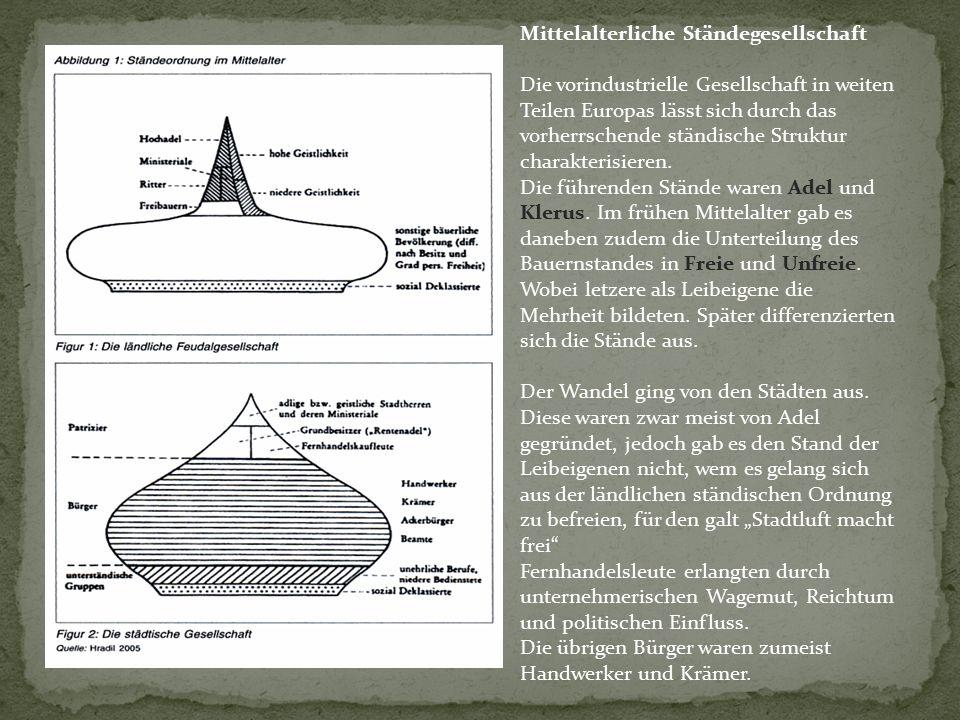 Mittelalterliche Ständegesellschaft Die vorindustrielle Gesellschaft in weiten Teilen Europas lässt sich durch das vorherrschende ständische Struktur charakterisieren.