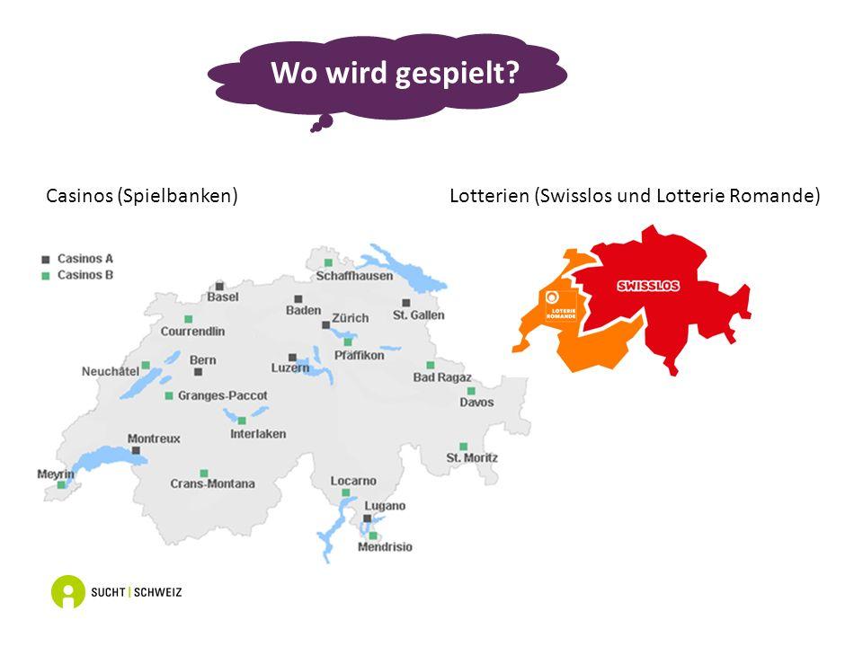 Casinos (Spielbanken) Lotterien (Swisslos und Lotterie Romande) Wo wird gespielt?