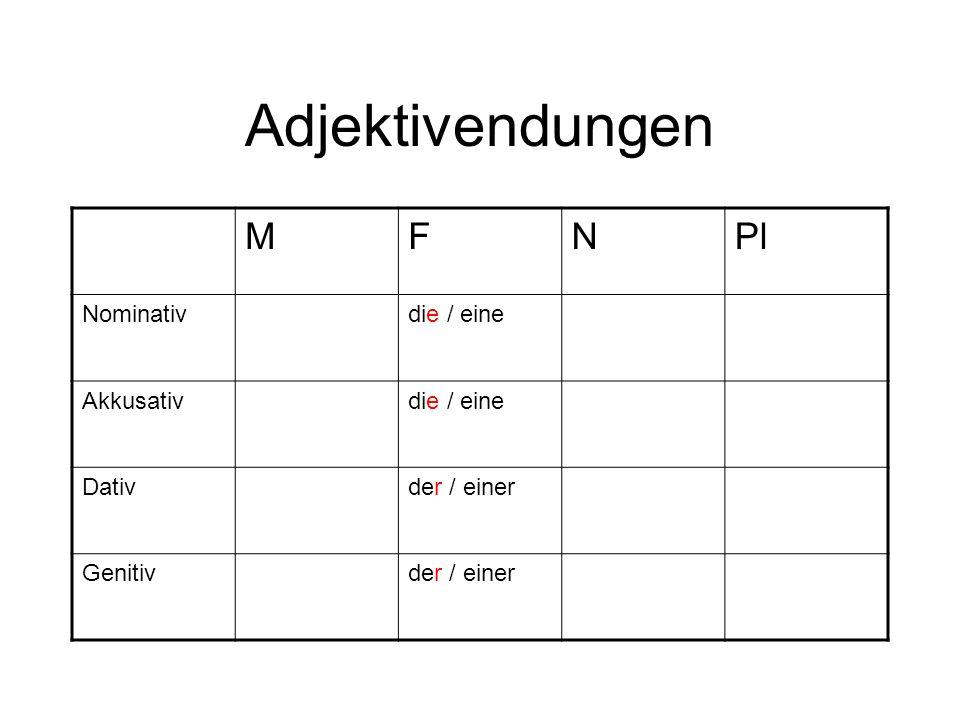 Adjektivendungen MFNPl Nominativdie / eine Akkusativdie / eine Dativder / einer Genitivder / einer
