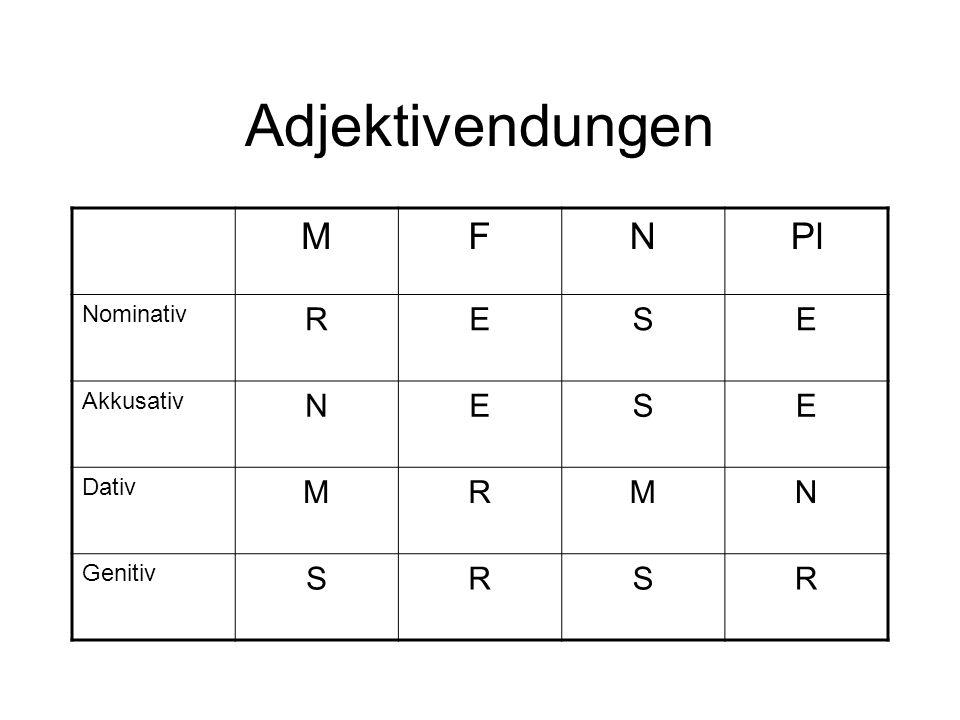 Adjektivendungen MFNPl Nominativ RESE Akkusativ NESE Dativ MRMN Genitiv SRSR