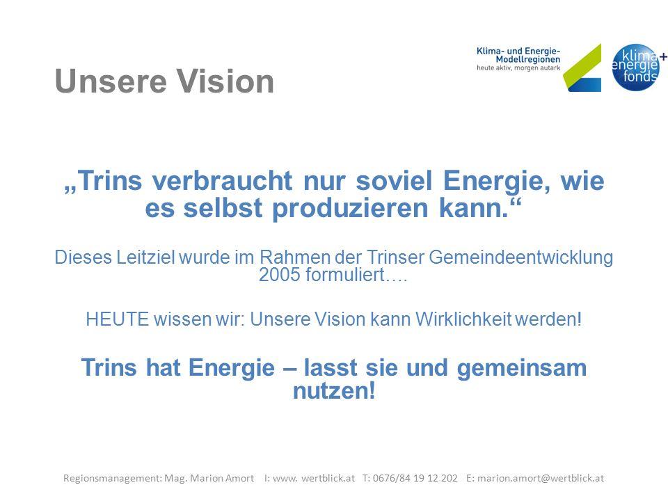 """Unsere Vision """"Trins verbraucht nur soviel Energie, wie es selbst produzieren kann. Dieses Leitziel wurde im Rahmen der Trinser Gemeindeentwicklung 2005 formuliert…."""