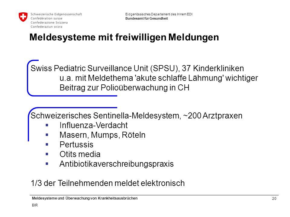 20 Meldesysteme und Überwachung von Krankheitsausbrüchen BIR Eidgenössisches Departement des Innern EDI Bundesamt für Gesundheit Swiss Pediatric Surveillance Unit (SPSU), 37 Kinderkliniken u.a.