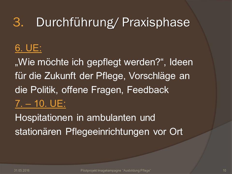 """Durchführung/ Praxisphase 3.Durchführung/ Praxisphase 6. UE: """"Wie möchte ich gepflegt werden?"""", Ideen für die Zukunft der Pflege, Vorschläge an die Po"""