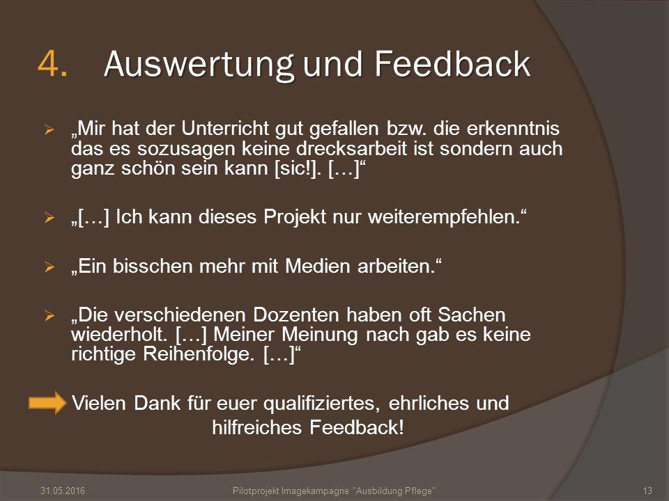 """Auswertung und Feedback 4.Auswertung und Feedback  """" Mir hat der Unterricht gut gefallen bzw. die erkenntnis das es sozusagen keine drecksarbeit ist"""