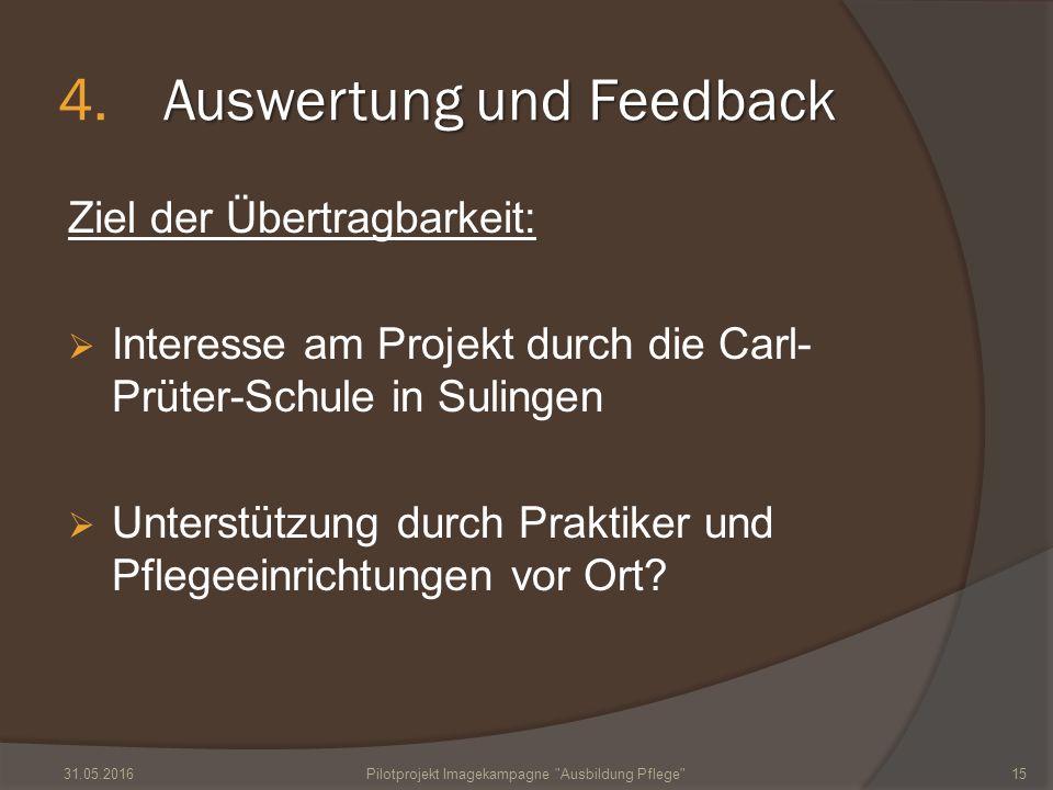 Auswertung und Feedback 4.Auswertung und Feedback Ziel der Übertragbarkeit:  Interesse am Projekt durch die Carl- Prüter-Schule in Sulingen  Unterstützung durch Praktiker und Pflegeeinrichtungen vor Ort.