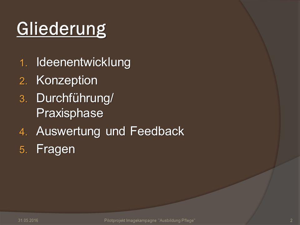 Gliederung 1. Ideenentwicklung 2. Konzeption 3. Durchführung/ Praxisphase 4. Auswertung und Feedback 5. Fragen 31.05.2016Pilotprojekt Imagekampagne