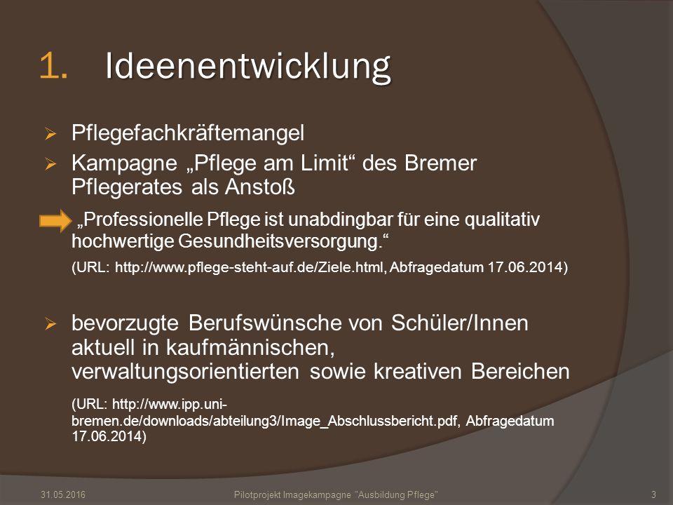 """Ideenentwicklung 1.Ideenentwicklung  Pflegefachkräftemangel  Kampagne """"Pflege am Limit"""" des Bremer Pflegerates als Anstoß """"Professionelle Pflege ist"""