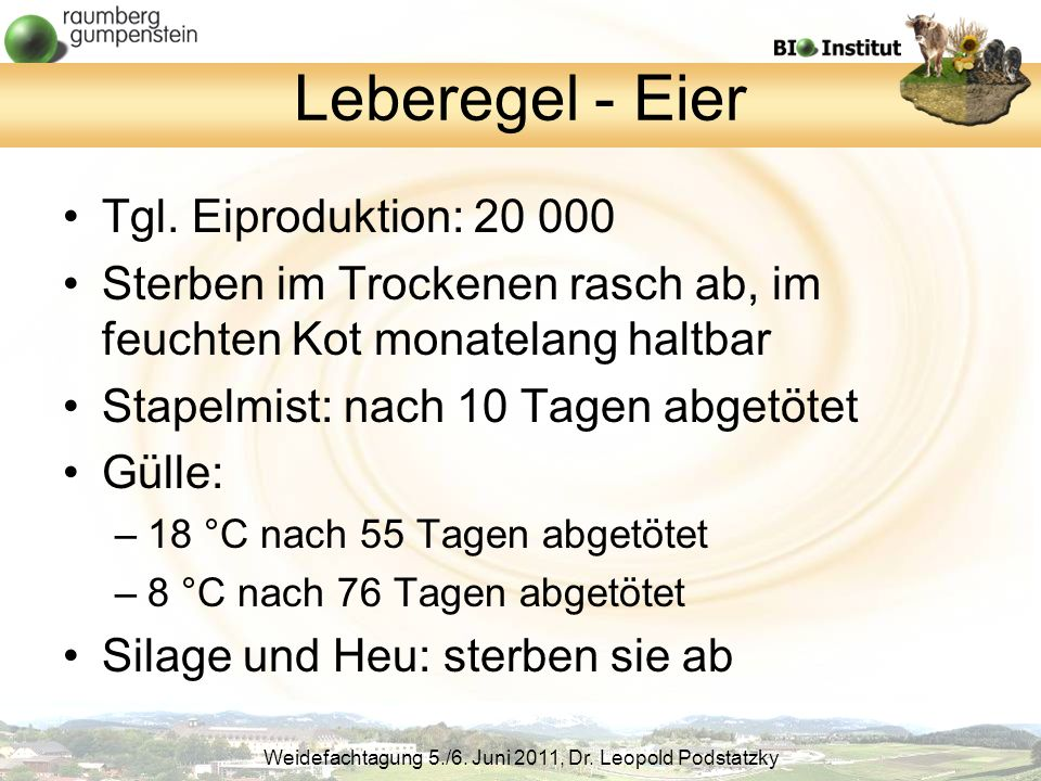 Weidefachtagung 5./6.Juni 2011, Dr. Leopold Podstatzky Leberegel - Eier Tgl.