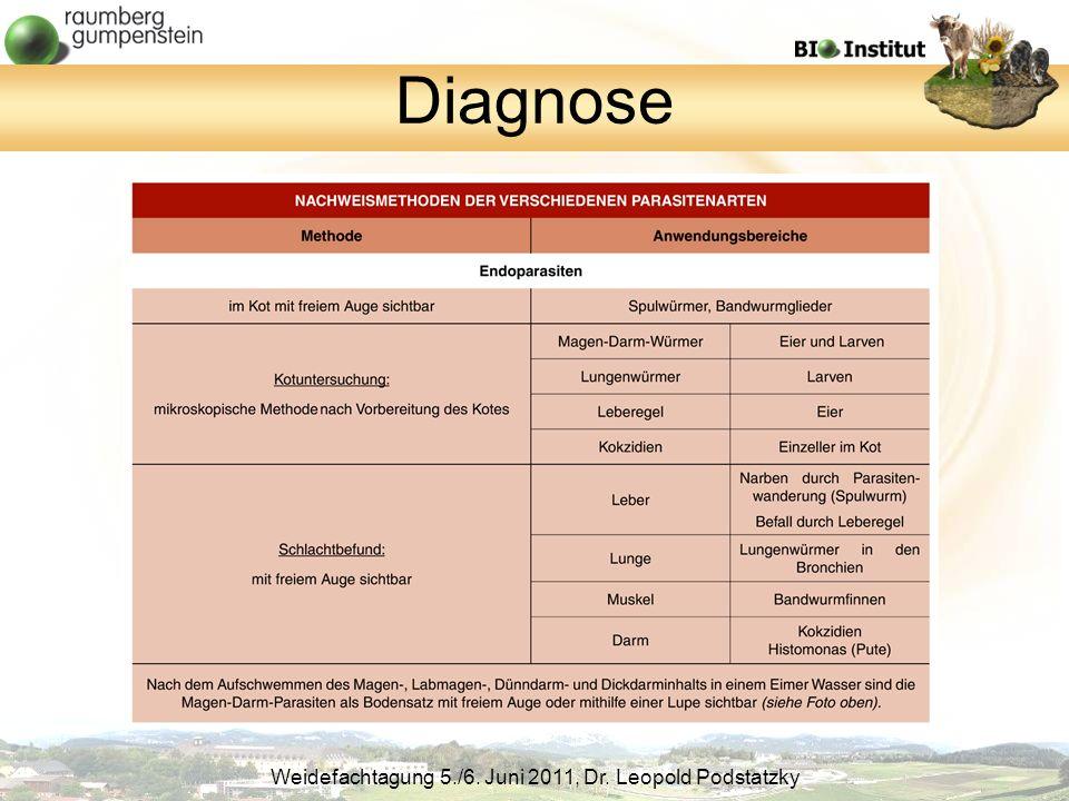 Weidefachtagung 5./6. Juni 2011, Dr. Leopold Podstatzky Diagnose