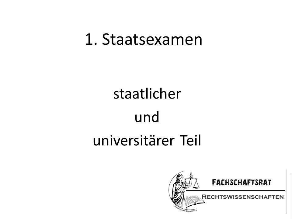 1. Staatsexamen staatlicher und universitärer Teil