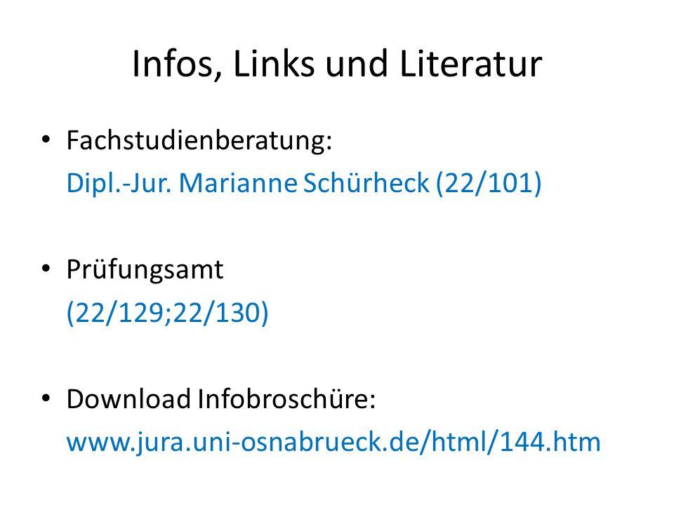 Infos, Links und Literatur Fachstudienberatung: Dipl.-Jur. Marianne Schürheck (22/101) Prüfungsamt (22/129;22/130) Download Infobroschüre: www.jura.un