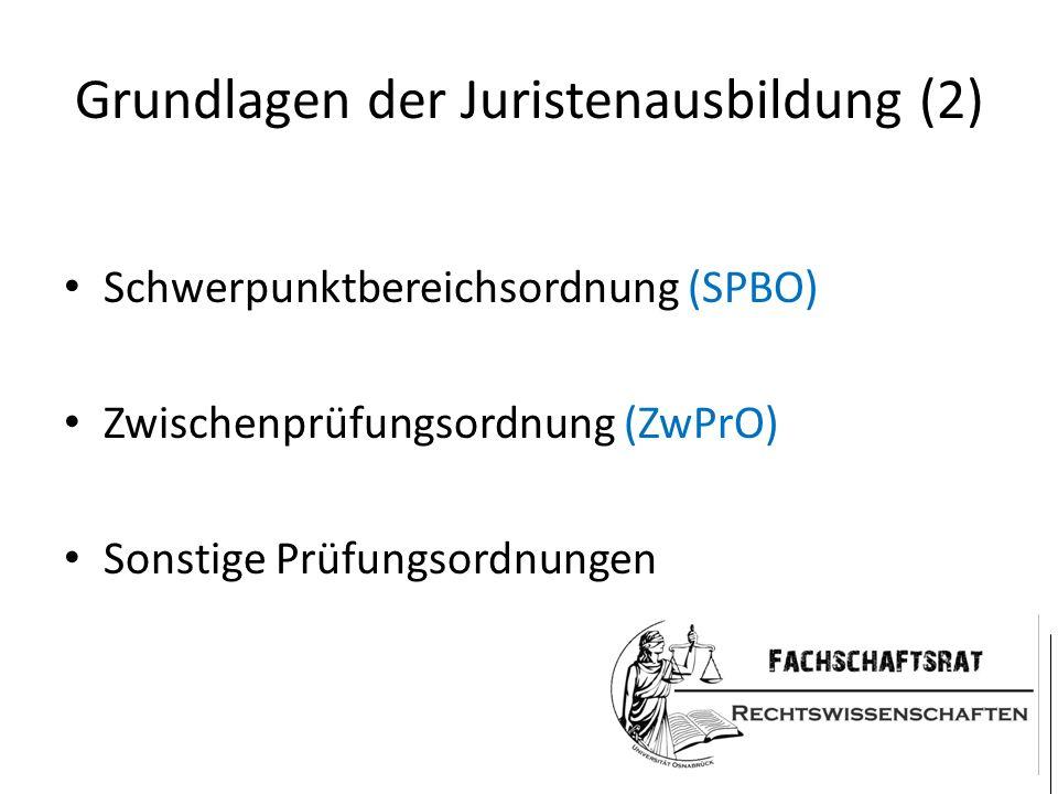 Grundlagen der Juristenausbildung (2) Schwerpunktbereichsordnung (SPBO) Zwischenprüfungsordnung (ZwPrO) Sonstige Prüfungsordnungen